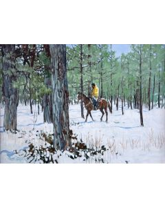 SOLD Ross Stefan (1934-1999) - There's a Prayer in this FOrest (Taos Indian Rider - New Mexico