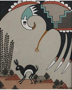 SOLD Pablita Velarde (1918-2006) - Eagle and Rabbit