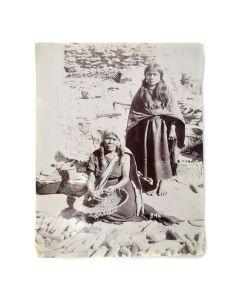 George Wharton James (1858-1923) - Oraibi Woman Making Baskets of Yucca Splints c. 1902