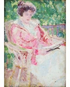 SOLD Leon Gaspard (1882-1964) - Lady in Pink Jacket