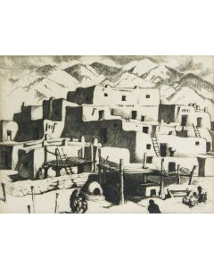 SOLD Gene Kloss (1903-1996) - South House, Taos Pueblo