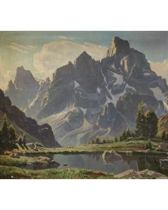 SOLD Robert Clunie (1895-1984) - Grand Teton, Mt. Owen and Mt. Teewinot from Lake Solitude, Morning