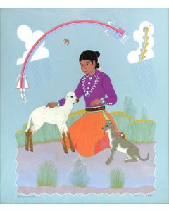 """Harrison Begay (1914-2012) - Young Navajo Girl and Her Pet Animals, December 3, 1977, 16.5"""" x 14.5"""" (PDC91988C-0321-002)"""
