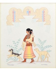 Harrison Begay (1914-2012) - Girl with Dog and Two Lambs
