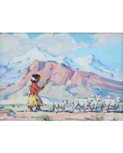 SOLD Marjorie Reed (1915-1996) - Moving the Flock - Navajo Land