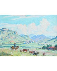 SOLD Marjorie Reed (1915-1996) - Working Cattle on the Rain Valley Ranch