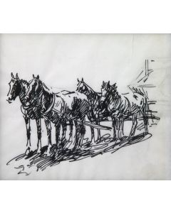 Edward Borein (1872-1945) - Horses Hitched to Wagon (PDC92348A-0621-029)