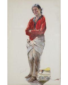 """SOLD Joseph Imhof (1871-1955) - Illustration of Pueblo Man named """"Luis"""" of Taos Pueblo"""