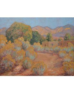 SOLD Sheldon Parsons (1866-1943) - Arroyo, Artist Road, Santa Fe