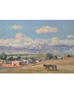 SOLD O.E. Berninghaus (1874-1952) - Edge of Town (Taos, New Mexico)