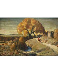 SOLD Joseph Fleck (1892-1977) - Autumn on Las Vegas Trail