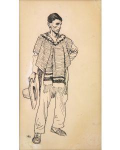 Maynard Dixon (1875-1946) - Costume Sketch - Tucson: c. 1860-1880 - Peon