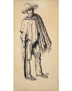Maynard Dixon (1875-1946) - Costume Sketch - Tucson: c. 1860-1880 - Man with Poncho