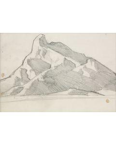 "Maynard Dixon (1875-1946) - Mountain Study for ""Home of the Desert Rat,"" Arizona 1939"