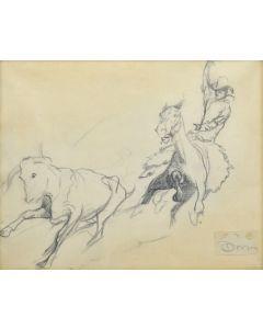 Maynard Dixon (1875-1946) - Action Study of Cowboy and Steer