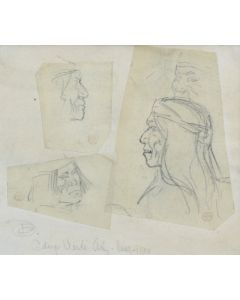 Maynard Dixon (1875-1946) - Collage of Three Tonto Apaches, Camp Verde, Arizona 1900 (PDX1303)