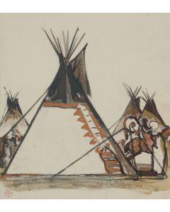 Maynard Dixon (1875-1946) - Teepees, Illustration Study for Parkman's 'Oregon Trail'