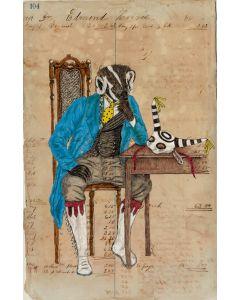 Julia Arriola - Badger Contemplating a Venetian Koshari Mask (PLV90194-0221-004)