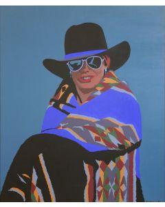 """Billy Schenck - The Blanket Trader, 1992, Oil on Canvas, 42"""" x 35"""" (PLV90867A-0713-001)"""
