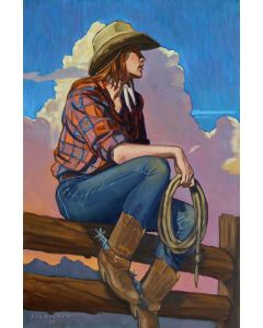 Dennis Ziemienski - Red Plaid Cowgirl