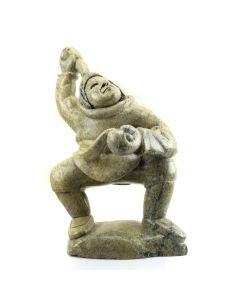 "Kiawak Ashoona (1933-2014) - Inuit Soapstone Hunter Throwing Pebble c. 1998, 18.5"" x 12.5"" x 9"""