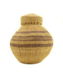 "Modoc Lidded Basket c. 1900s, 6.5"" x 5"""