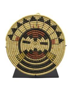 """Hopi Coiled Polychrome Kachina Plaque c. 1930-50s, 1.25"""" x 15.75"""""""