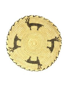 "Tohono O'odham Tray with Gapstitch Deer Designs c. 1960s, 2"" x 11.5"""