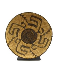 """Pima Basket with Whirling Logs Design c. 1920s, 1.75"""" x 8.5"""""""