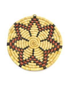 """Hopi Polychrome Coiled Plaque with Star Design c. 1950-60s, 8"""" diameter"""