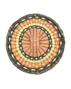 """Hopi Polychrome Wicker Plaque c. 1960s, 6"""" diameter"""