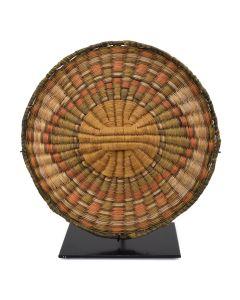 """Hopi Polychrome Wicker Plaque c. 1930s, 8.25"""" diameter 1"""