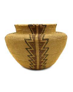 "Kawaiisu Polychrome Bottleneck Basket c. 1900-20s, 4.75"" x 7"""