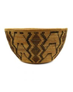 "Yokuts Polychrome Basket c. 1900-20s, 4.25"" x 8.25"""