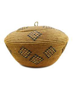 "Salish Lidded Basket c. 1900-20s, 8"" x 13"""