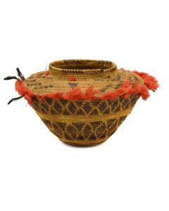 "Lot 250 - Tulare Bottleneck Basket with Quail Topknot Feathers and Original Red Fringe c. 1900s, 4"" x 6"" (SK2810)"