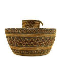 "Yokuts/Tulare Polychrome Lidded Bottleneck Basket c. 1900-20s, 6"" x 9"""