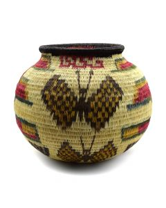 "Contemporary Panamanian Basket with Butterfly Design, 5.5"" x 6"""