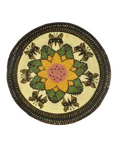 """Contemporary Panamanian Tray with Butterfly and Flower Designs, 2.5"""" x 14.25"""""""