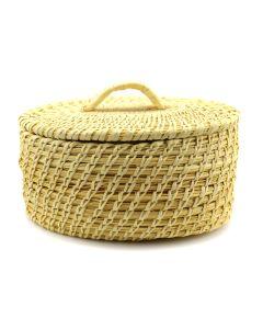 """Tohono O'odham Gap Stitch Lidded Basket c. 1960-70s, 4"""" x 7.5"""" x 6.5"""""""