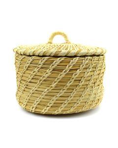 """Tohono O'odham Gap Stitch Lidded Basket c. 1960-70s, 4"""" x 6"""" x 5"""""""