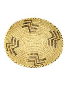 "Tohono O'odham Coiled Oval Basket c. 1950s, 2"" x 13.5"" x 11.75"""