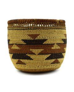 """Yurok Polychrome Basket c. 1900s, 4"""" x 4"""""""
