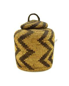 """Tohono O'odham Lidded Basket with Zigzag Design c. 1920-30s, 8"""" x 5.5"""""""