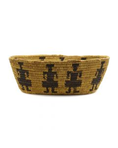 """Tohono O'odham Pictorial Basket with Figures c. 1940s, 3.75"""" x 11.25"""" x 8.5"""" (SK2896)"""