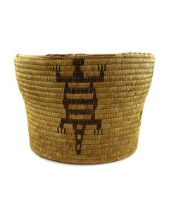 "Large Tohono O'odham Basket with Lizard Designs c. 1940s, 10.75"" x 15"""