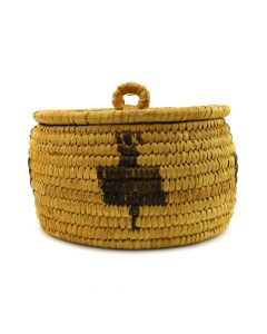 "Tohono O'odham Basket with Bird Designs c. 1940s, 4"" x 6"""
