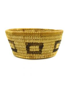 "Tohono O'odham Basket with Square Designs c. 1940s, 2.5"" x 6"""
