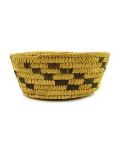 "Tohono O'odham Basket with Coyote Tracks Design c. 1940s, 2.25"" x 6"""