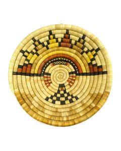 """Hopi Coiled Polychrome Plaque with Kachina Design c. 1960s, 1.5"""" x 7.75"""""""